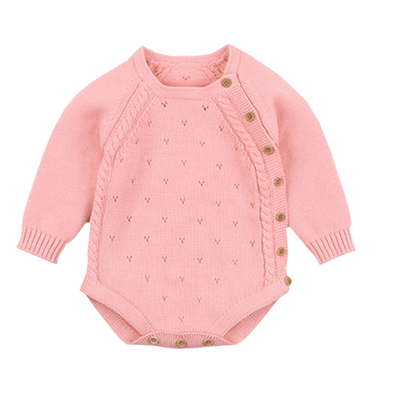 Newborn Baby Girl Bodysuits Fashion Candy Color Knitted Toddler Infant Kids Boys Clothes Spring Long Sleeve