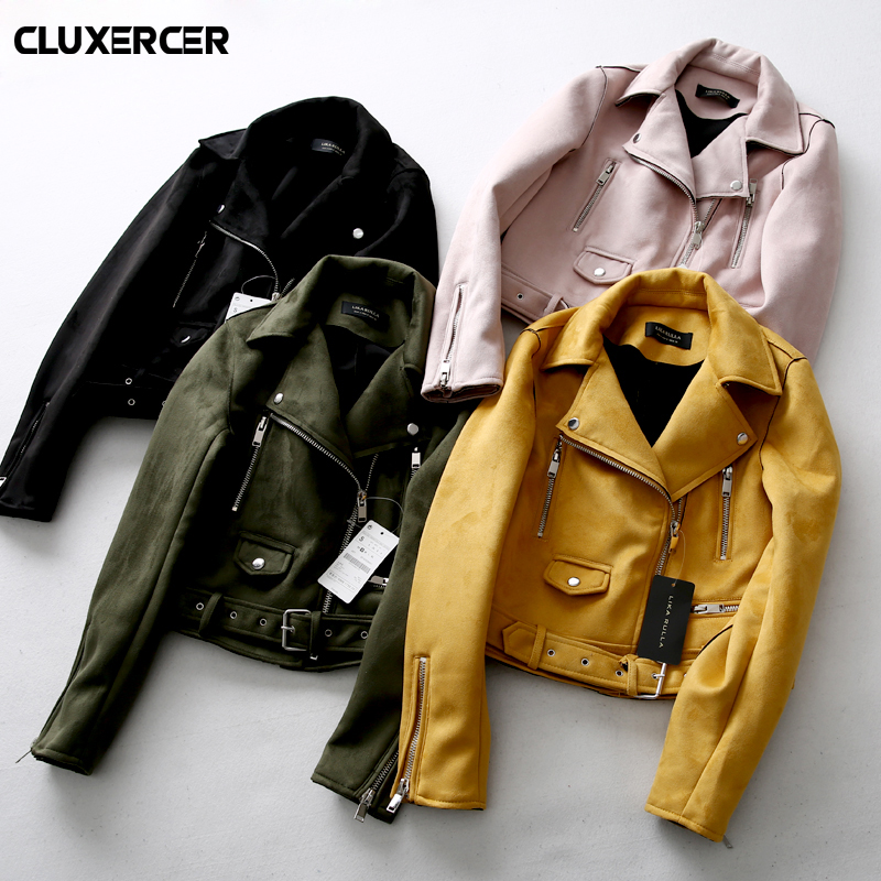 New Fashion Women suede motorcycle jacket Slim brown full lined soft faux Leather female coat