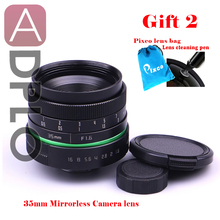 New green circle Lens 35mm Upgraded Style Manual Iris Lens  For NEX M N1 PQ Fuji,Nikon,Ol.ympus with cleaning Pen,Pixco lens bag