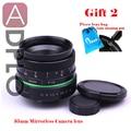 Nueva Lente de Iris Manual Lente 35mm Actualizado Estilo círculo verde para nex m n1 pq fuji, nikon, ol. ympus con pluma de la limpieza, pixco lente bolsa