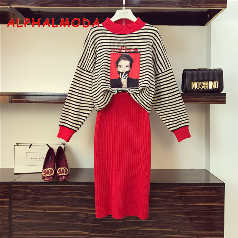 ALPHALMODA 2018 Autumn Winter New Model Women's Costume Casual Suits Strip Blouse Top Solid Color Slim Skirt Ladie Sweater+skirt