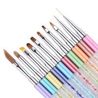 10 개 네일 아트 페인팅 브러쉬 라이너 그라데이션 UV 젤 브러쉬 펜 다른 모양 그리기 석 핸들 매니큐어 세트 도구