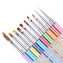 10Pcs Nail Art Painting Brush Liner Gradient UV Gel Brush Pen for Different Shape Drawing Rhinestone Handle Manicure Set Tools