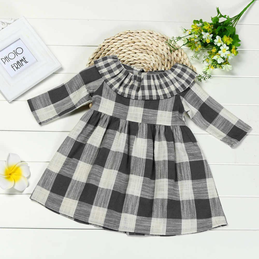 4659f3a183e Muqgew детское платье Дети маленьких Обувь для девочек в клетку с длинными  рукавами платье в полоску