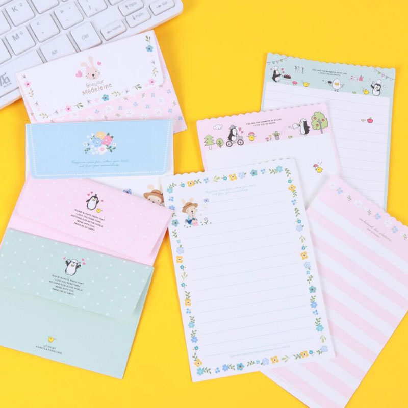 1 set=( 4 sheet letter paper+ 2 pcs envelopes) Mini flower animal Letter pad Set/set writing paper Office&School Supplie dirty dancing hamburg