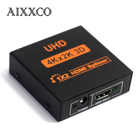 AIXXCO HDCP 4K HDMI Splitter Full HD 1080p Video HDMI Switch Switcher 1X2 1X4 Dual Display For HDTV DVD PS3 Xbox