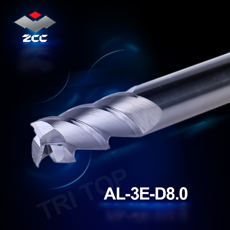 2ks / šarže ZCC.CT cnc fréza AL-3E-D8.0 pevný karbid 3 drážkované čelní frézy 8 mm s rovnou stopkovou frézou