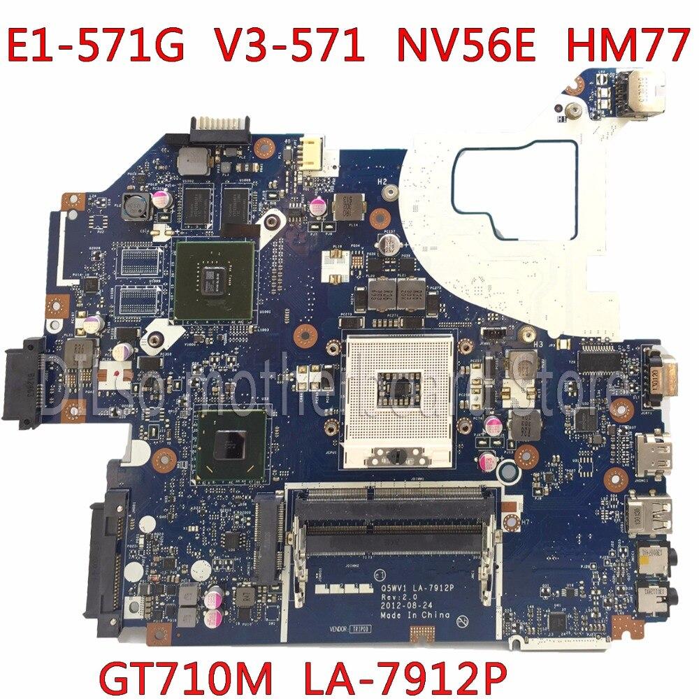 KEFU LA-7912P carte mère fit pour ACER Aspire E1-571G V3-571G V3-571 carte mère Q5WV1 LA-7912P GT710M HM77 PGA989 Test
