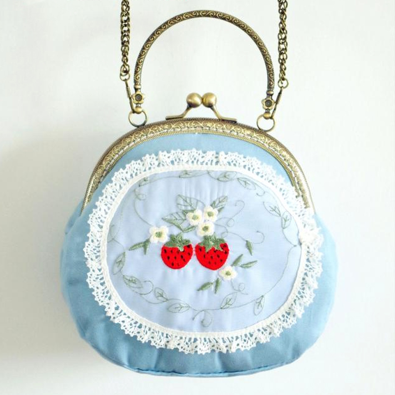 Sweet Strawberry Handbag Fruit Embroidery Handbag Blue Women Bag Lovely Lace Double Side Embroidery Clutch Mini Wallet Phone Bag юбка strawberry witch lolita sk