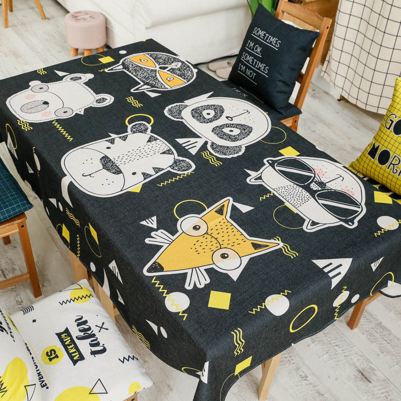 Cartoon Geek Cat Original Trend Coffee Table Tablecloth Fabric Kitchen Table Cloth Cotton Linen Table Cloth 3