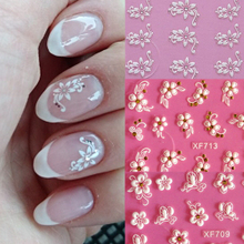 цена на 4sheets/pack 3D DIY flower design Nails Art Sticker decals Acrylic Flower manicure tools Nail Wraps Decals Adhesive Sticker