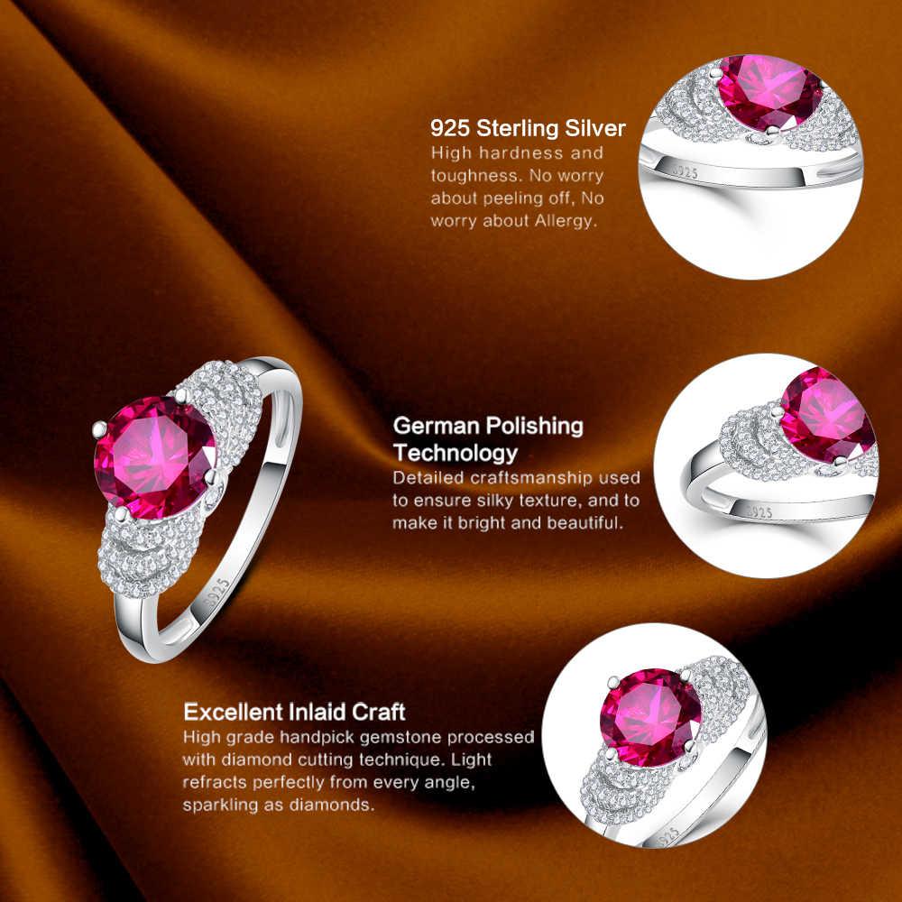 JC dame Hochzeit Zubehör Edlen Schmuck Runde Geschnitten Exquisite Rubin & weiß Topaz Solid 925 Sterling Silber Ring Größe 6 7 8 9