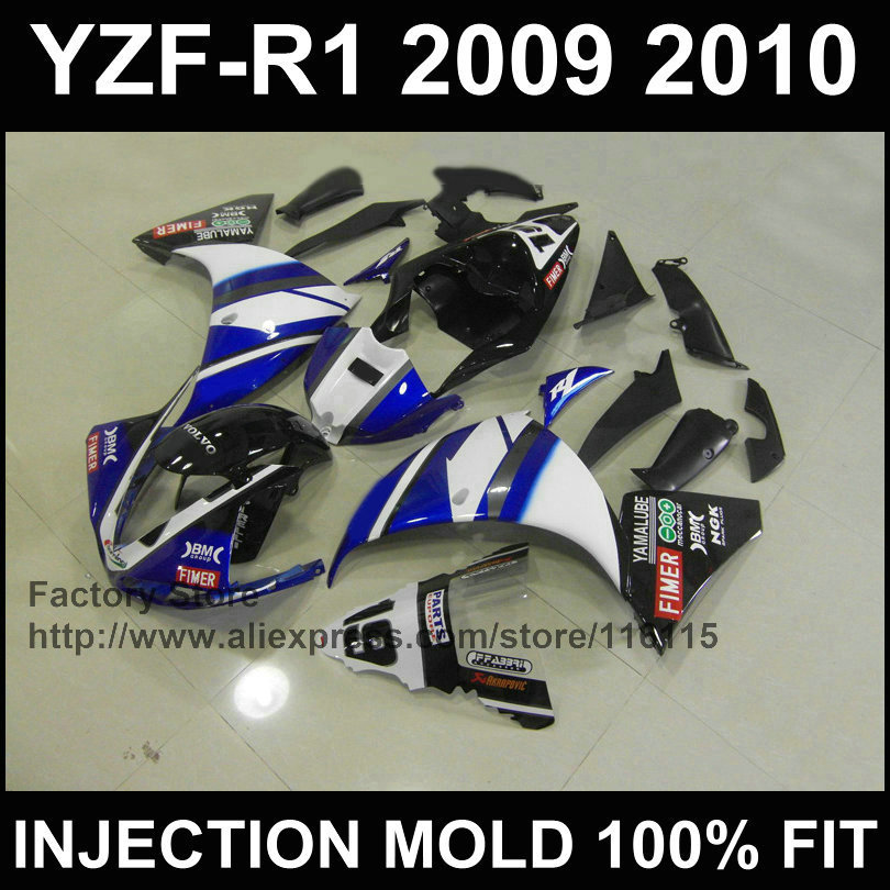 Professional Injection fairings kit for YAMAHA YZFR1 09 10 11 YZF R1 2009 2010 2011 YZF1000 white blue motorcycle fairing parts