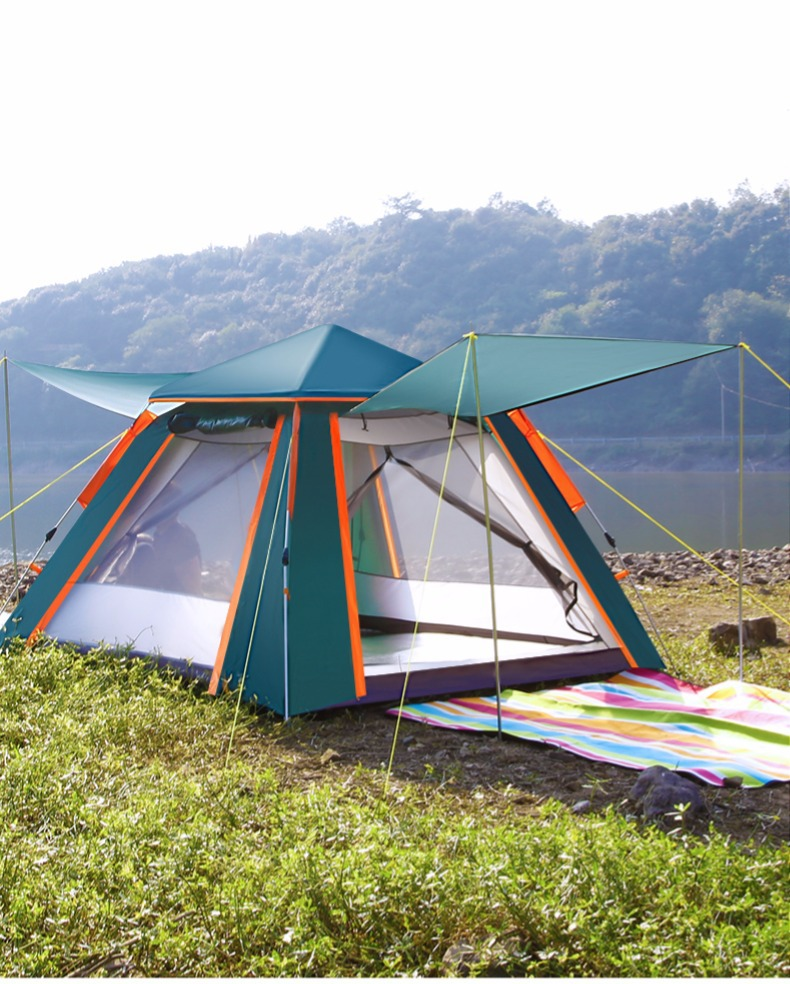 Fully automatic double layer black plastic coated silver glue thickened sunshade rain 5 8 people outdoor camping picnic tent