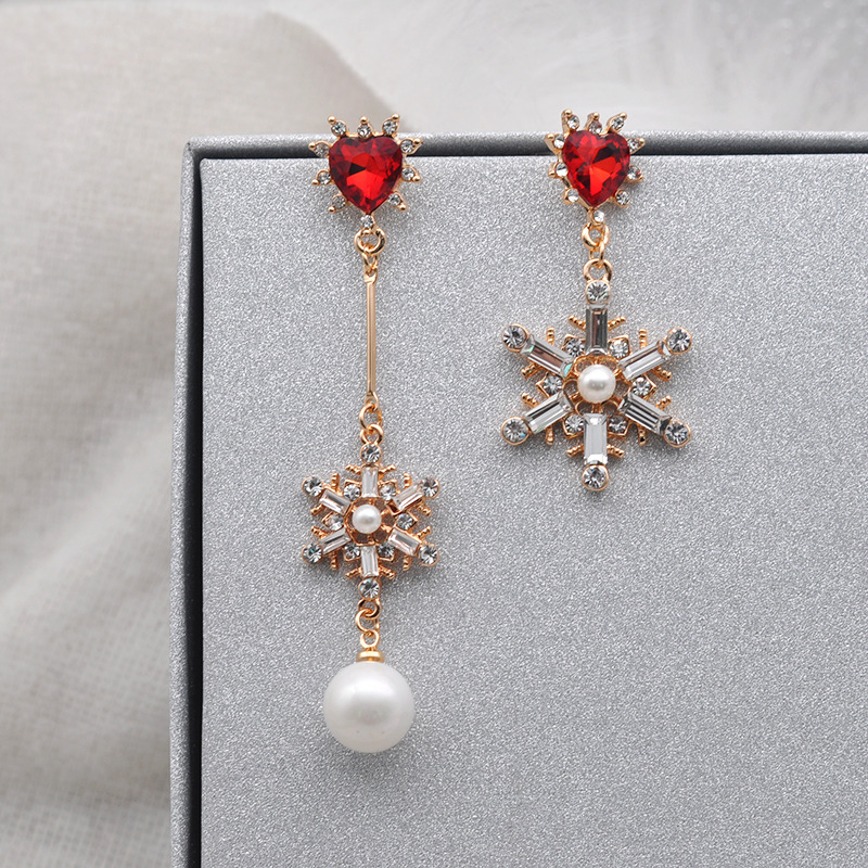 2018 Trendy Jewelry Rhinestone Exaggerate Big Asymetric Snow Earings For Womentemperament Pendientes Mujer Moda