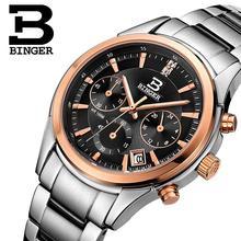 Switzerland BINGER men's watch luxury brand Quartz waterproof genuine full stainless steel Chronograph Wristwatches BG6019-M6