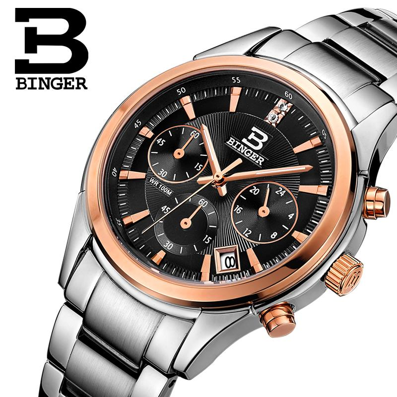 Switzerland BINGER men's watch luxury brand Quartz waterproof men watches full stainless steel Chronograph clock BG6019-M6 switzerland watches men luxury brand men s watches binger luminous automatic self wind full stainless steel waterproof b5036 10