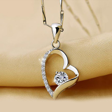 Fashion Pendant Necklace for Women Popular 925 Silver Necklace Heart-shape Pendant Necklace Classic Holiday Gift milky blue earring and pendant necklace flower shape pendant necklace jewerly set for women gift