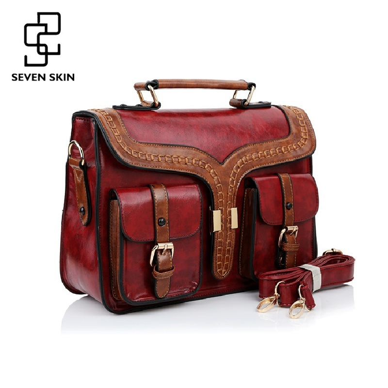 SEVEN SKIN Brand New Designer Women Casual Tote Bag Female Vintage Messenger Bags High Quality PU Leather Handbag bolsa feminina seven skin brand women oil wax leather shoulder bags vintage designer handbags female big tote bag women s messenger bags 2017