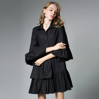 2017 Plus Size Women Ruffles Pleated Loose Blouse Dress Fashion Design Butterfly Sleeves Women Cotton Shirt
