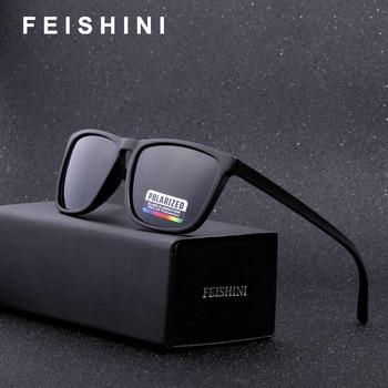 FEISHINI High Quality Mens EYEGlasses Black Vintage Fashion Diablo Rectangle UVB Sunglasses Women Polarized Brand Designer 2019