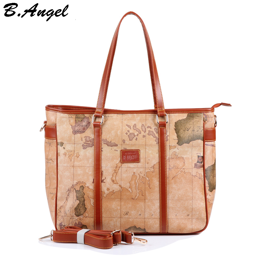 2016 new fashion woman handbag shoulder bag Messenger Bag cross body bag  tote big world map bag in PVC Star war map message