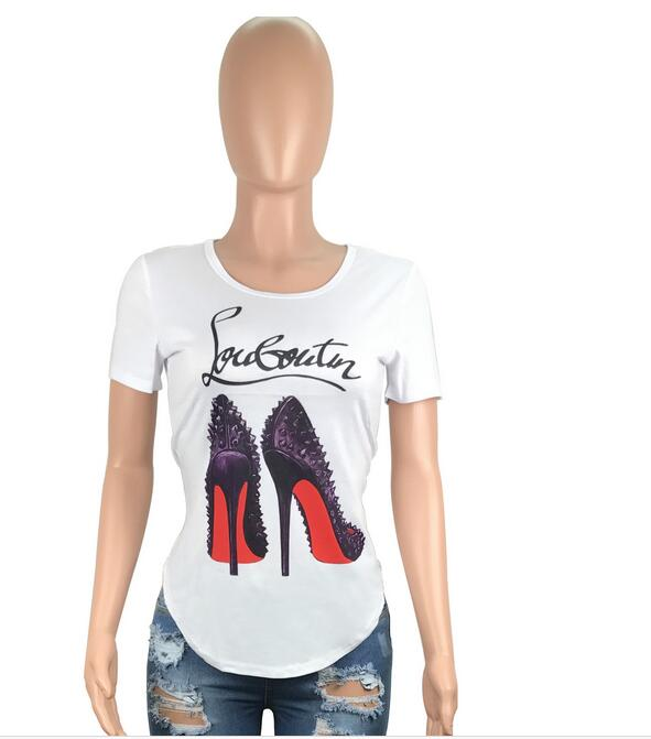 bb98863b women tops and tees 2018 summer Shoes Heels Print 3D Funny t shirt o neck  letters shirt louboutin t shirt-in T-Shirts from Women's Clothing on ...