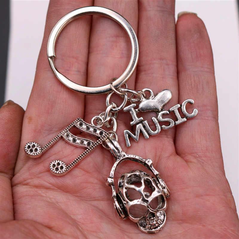WKOUD 1 pc EU Amo Charme Música Rock Crânio A1869 Entusiastas & Símbolo de Música de Metal Criativo Chaveiro Presentes Artesanais