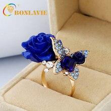 Женское кольцо в виде цветка розы Винтажное из сплава с большим
