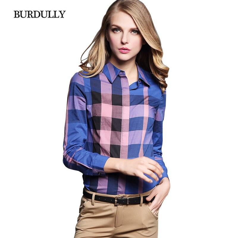 BURDULLY Blusas Femeninas Elegante font b Women s b font Plaid font b Shirt b font