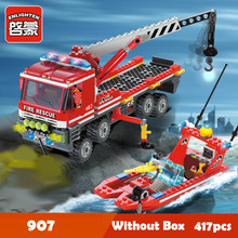 купить City Firefighting Building Blocks Sets DIY Truck Firemen Car Bricks Children Educational Blocks Toys Gifts онлайн