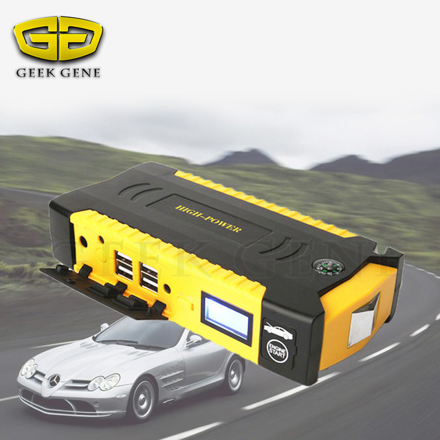 Geek Gene Diesel Petrol Car Battery Charger 12V Jump Starter Phone Laptop Power Bank SOS Lights Break Hammer Belt Slicer Compass