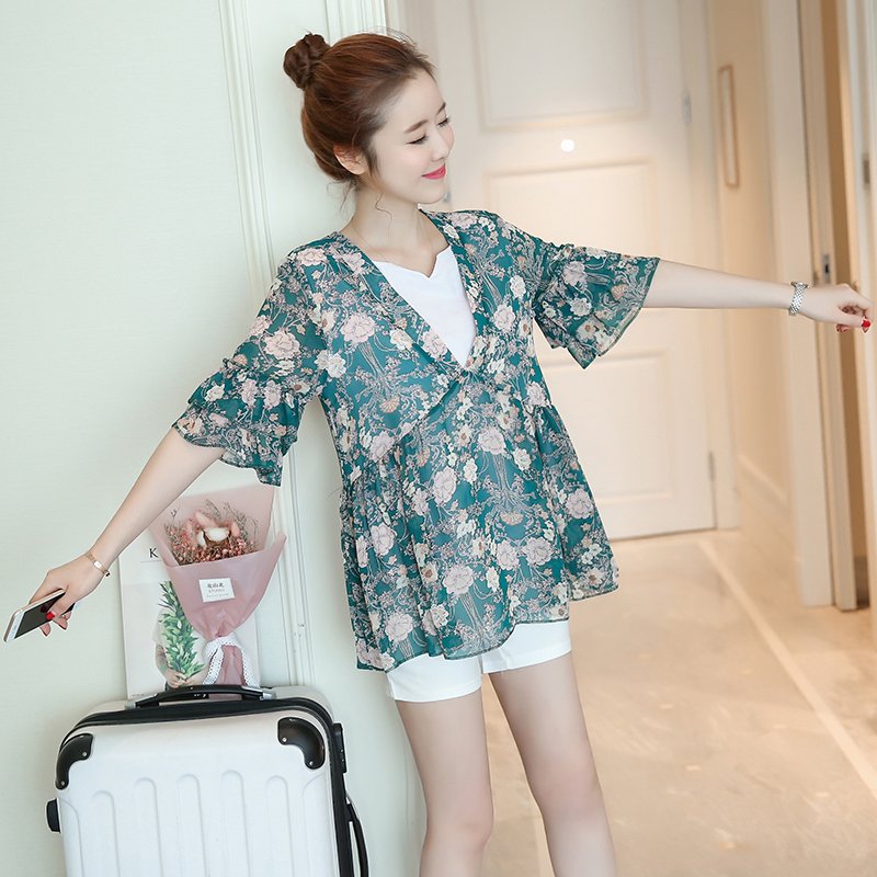 2018 summer chiffon floral maternity t shirt top tees pregnancy oversize dress top for p ...