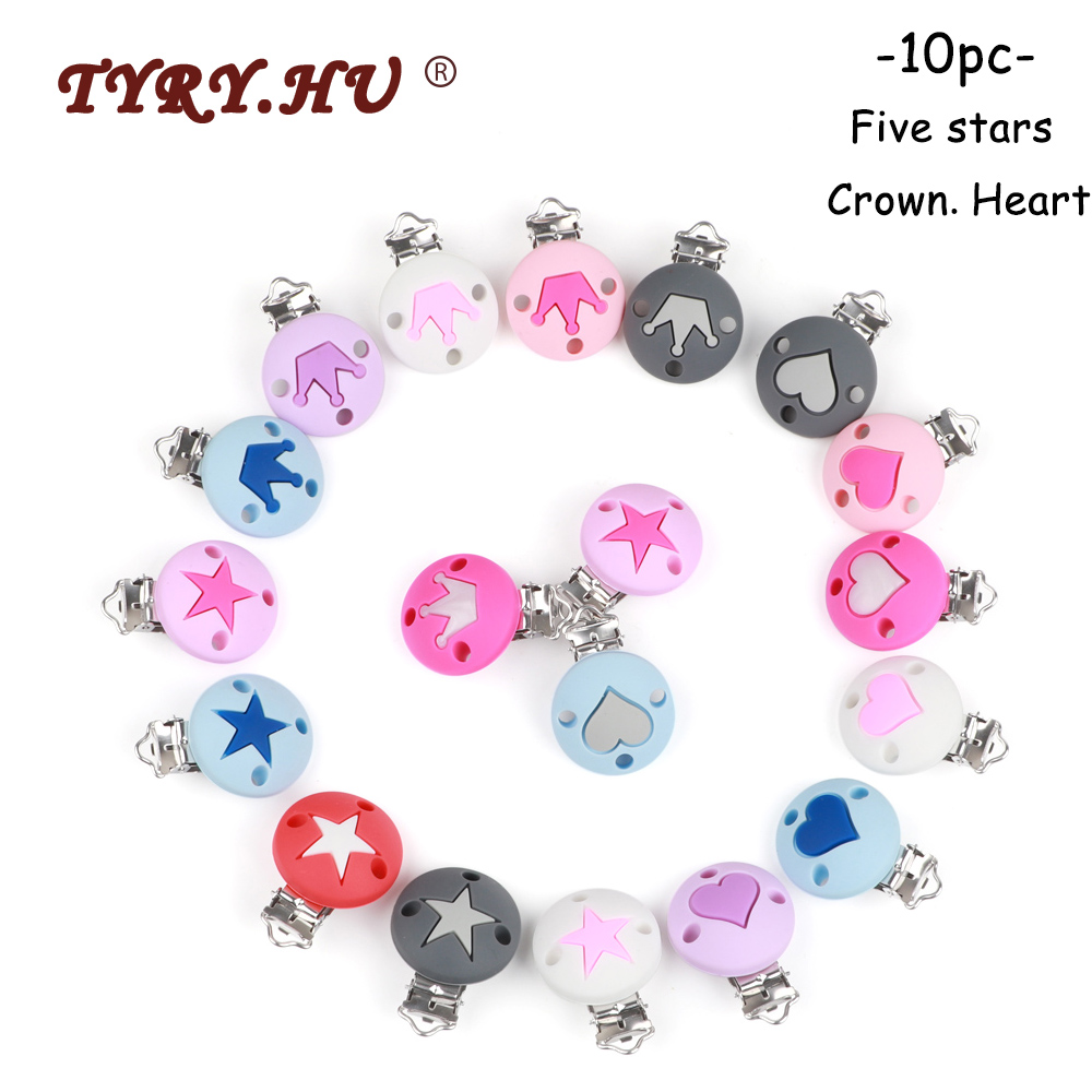 TYRY.HU 10pc Pacifier Chain Clip Round Star Crown Heart Food Grade Silicone Clip Baby Teething DIY Pacifier Chain Tool Accessori