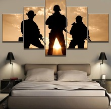 Framework 5 Piece HD Print Large Army Sunset Cuadros Decoracion Paintings on Canvas Wall Art for Home Decorations Decor