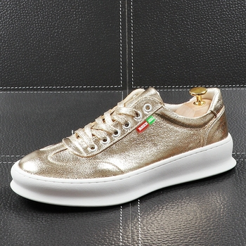 CuddlyIIPanda Men Fashion Casual Shoes Summer Leather Breathable Leisure Shoes Male Thick Bottom Bling Youth Trending Sneakers