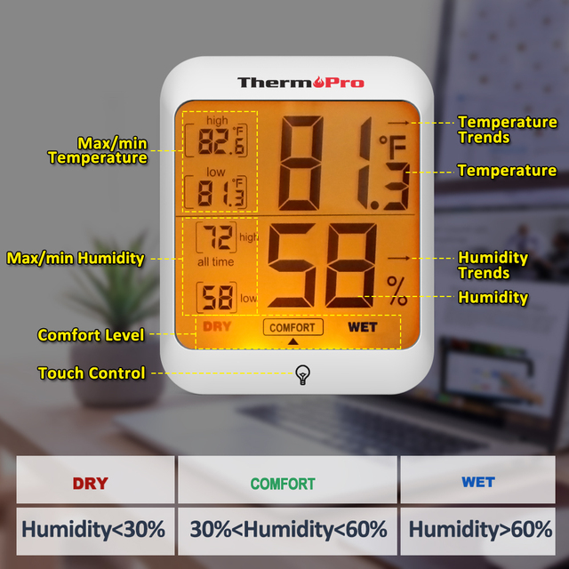 ThermoPro TP53 Hygrometer Thermometer Humidity Gauge Indicator Digital Indoor Thermometer Room Temperature and Humidity Monitor