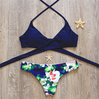 2018 Woman Sexy Swimwear Cross Brazilian Bikinis Set Beach Bathing Suit Push Up Halter Bodaysuit Bandage