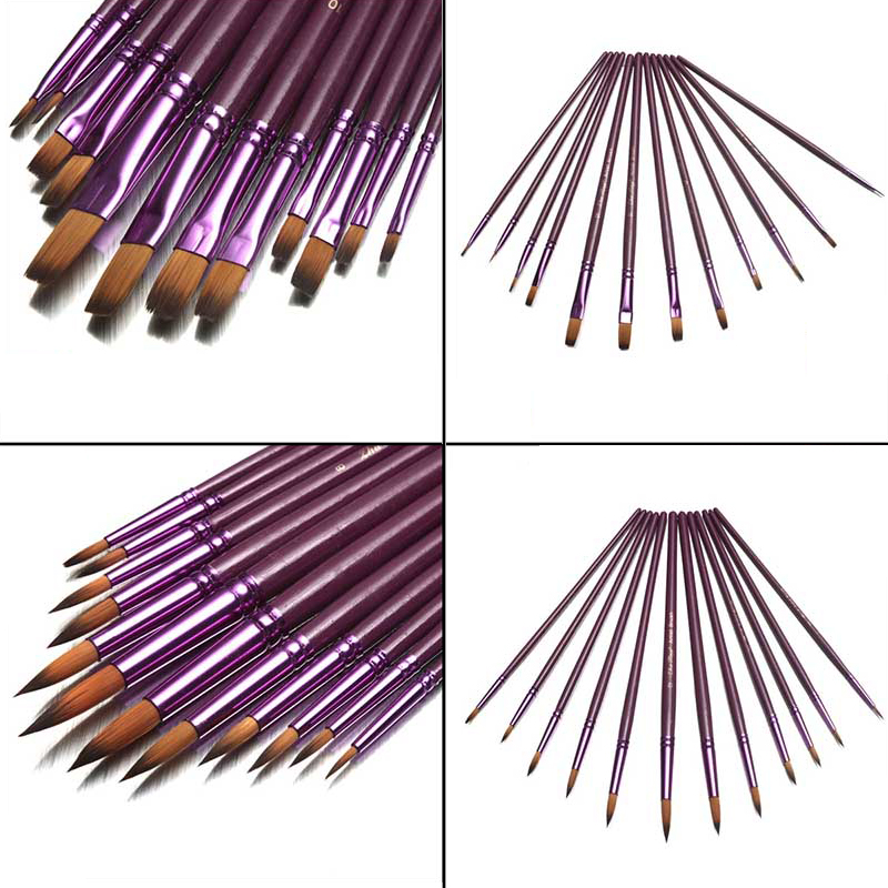 12 Pieces Painting Brushes Purple Pointed Flat Art