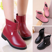2018 Winter Shoes Kids Snow Boots Girl Genuine Leather Boots Warm Big Girl Martin Boots Children Simple Waterproof Boots 27-37