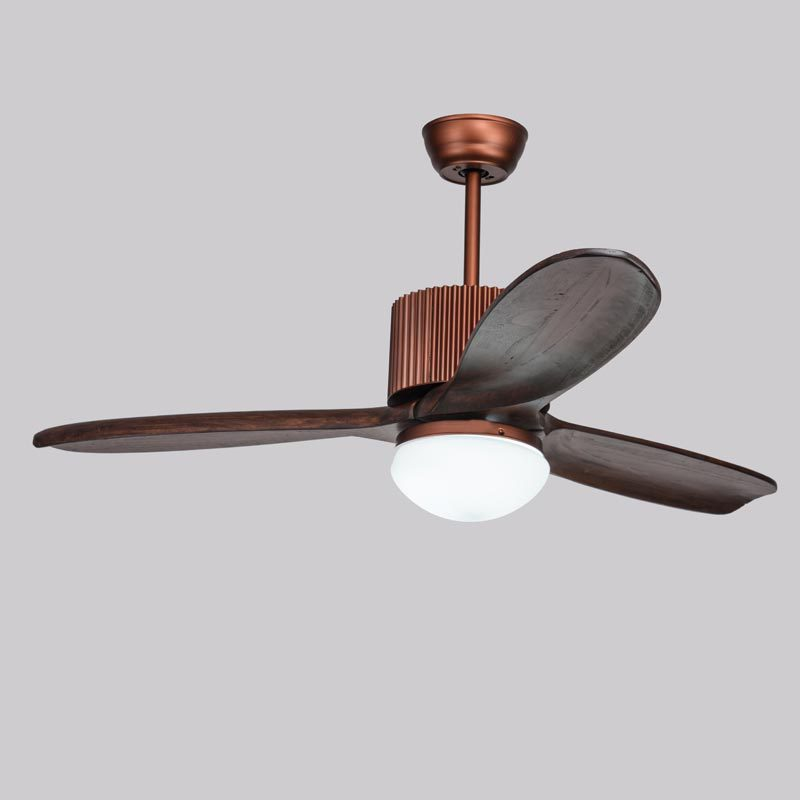 American Ceiling Fan Restaurant Dining Table Light Wood Leaf Continental Retro With LED Bedroom Living