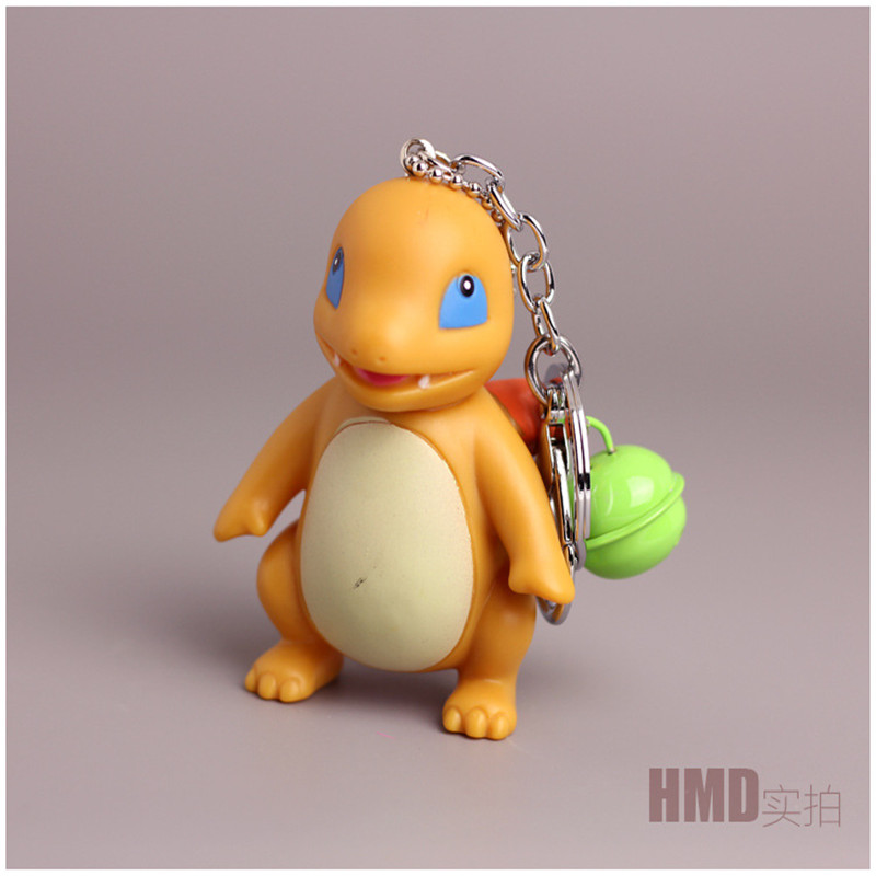 3D Anime Pokemon Go Key Ring Pikachu Keychain Pocket Monsters Key Holder Pendant Mini Charmander Squirtle Bulbasaur Figure Toys