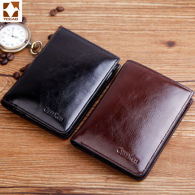 Men's Wallet  Brand Oil Wax Leather Carteira Masculina Short Bifold Casual Soild Men Purse Male Zip Wallet Billetera Hombre 2019