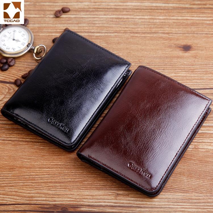 Men's Wallet  Brand Oil Wax Leather Carteira Masculina Short Bifold Casual Soild Men Purse Male Zip Wallet Billetera Hombre 2019