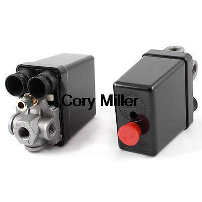 175PSI 20A 4 Port 1/4 NPT Air Compressor Pressure Switch Control Valve vertical type replacement part 1 port spdt air compressor pump pressure on off knob switch control valve 80 115 psi ac220 240v
