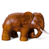 Shengwei of hand carved king-size elephant African pear ornaments one pair of high-end desktops 47cm long