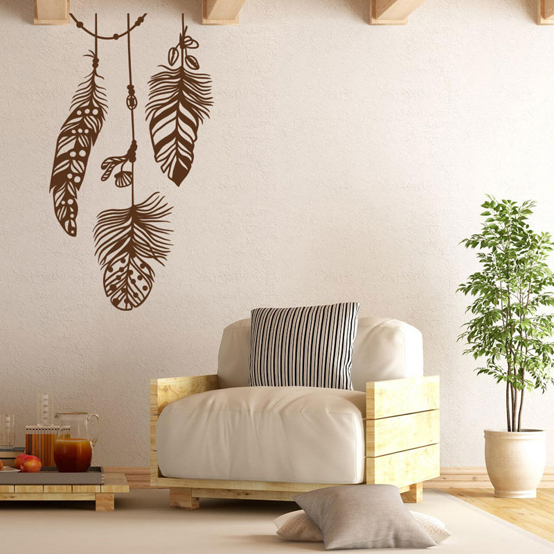 Beautiful Feathers Vinyl Decal For Bedroom Feather Wall ... on Modern Boho Wall Decor  id=64814