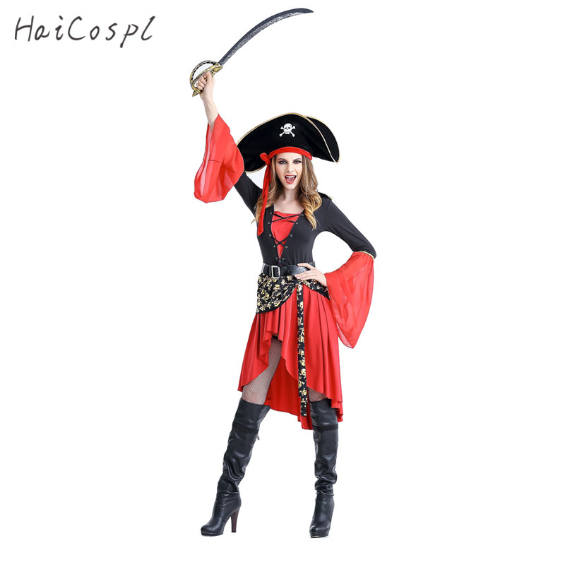 Women Pirate Cosplay Costume For Halloween Party Female Fantasias Sexy Dresses Skeleton Hat Captain Disguise Role Play Game Wear