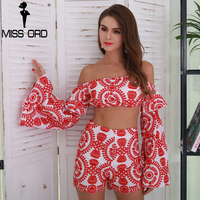 Missord 2017 Sexy Embroidery Off Shoulder Flare Sleeve Two Pcs Women Sets FT8562