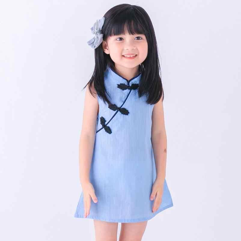 As Meninas da criança Verão Vestido de Princesa Crianças Bebê Festa de Casamento Sem Mangas Cheongsam vestidos de 15